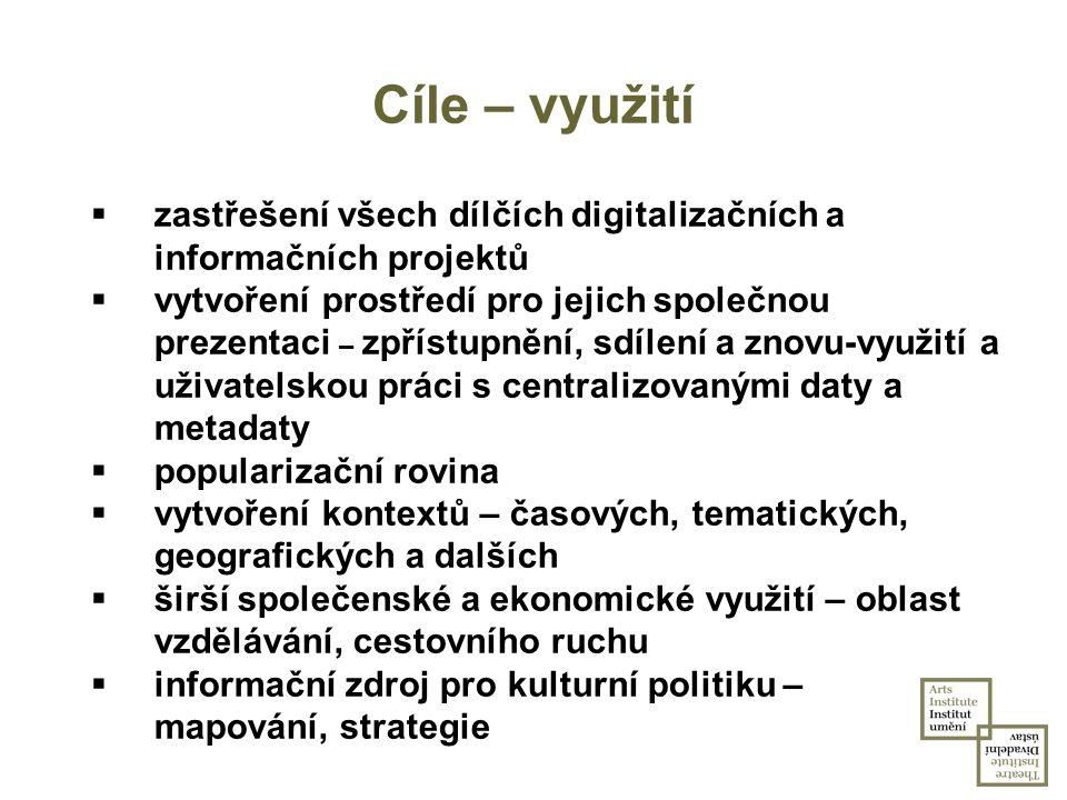 Cíle – využití zastřešení všech dílčích digitalizačních a informačních projektů.