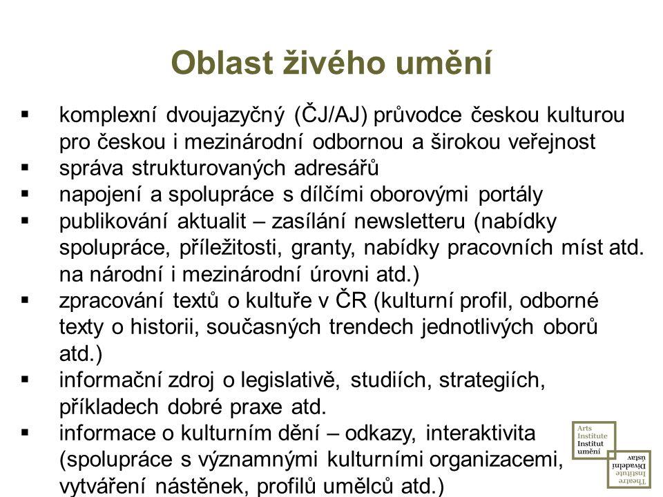 Oblast živého umění komplexní dvoujazyčný (ČJ/AJ) průvodce českou kulturou pro českou i mezinárodní odbornou a širokou veřejnost.