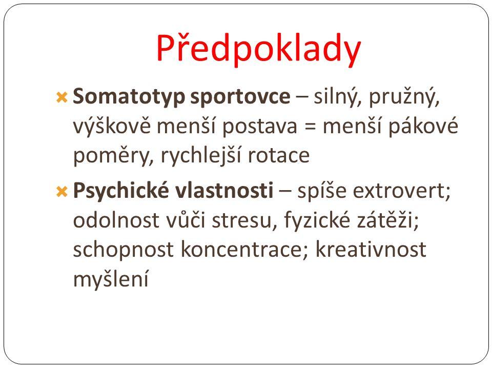 Předpoklady Somatotyp sportovce – silný, pružný, výškově menší postava = menší pákové poměry, rychlejší rotace.