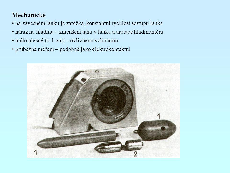 Mechanické na závěsném lanku je zátěžka, konstantní rychlost sestupu lanka. náraz na hladinu – zmenšení tahu v lanku a aretace hladinoměru.