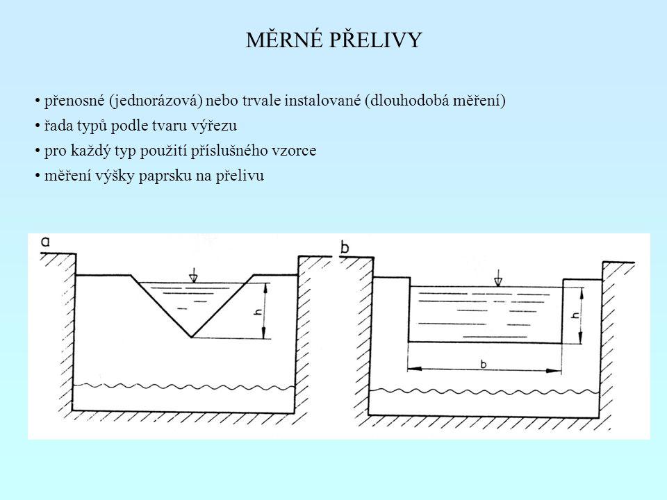 MĚRNÉ PŘELIVY přenosné (jednorázová) nebo trvale instalované (dlouhodobá měření) řada typů podle tvaru výřezu.