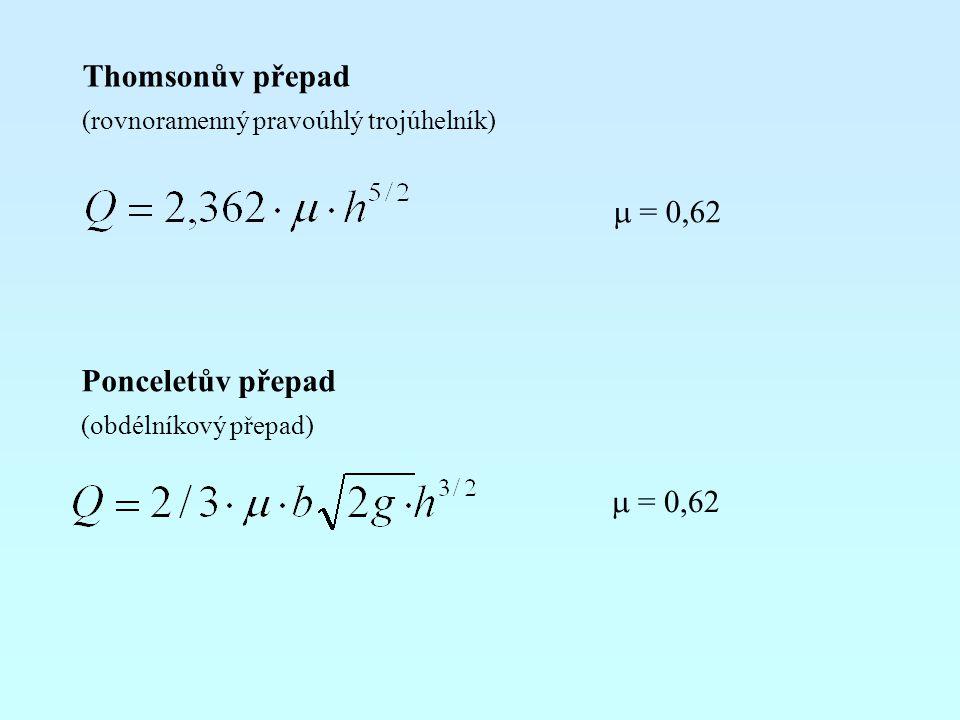 Thomsonův přepad m = 0,62 Ponceletův přepad m = 0,62
