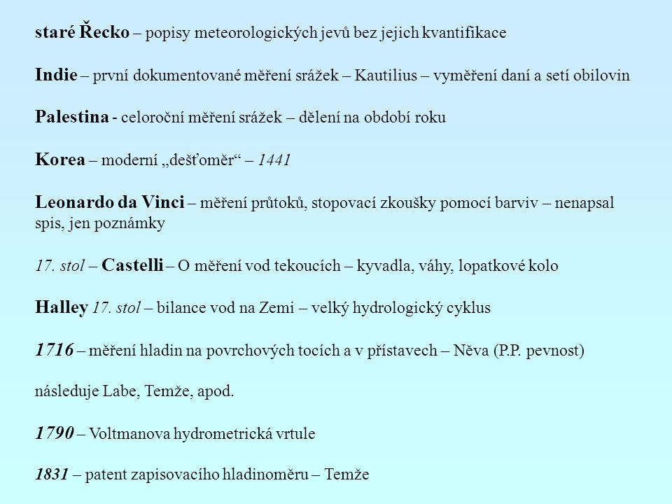 staré Řecko – popisy meteorologických jevů bez jejich kvantifikace