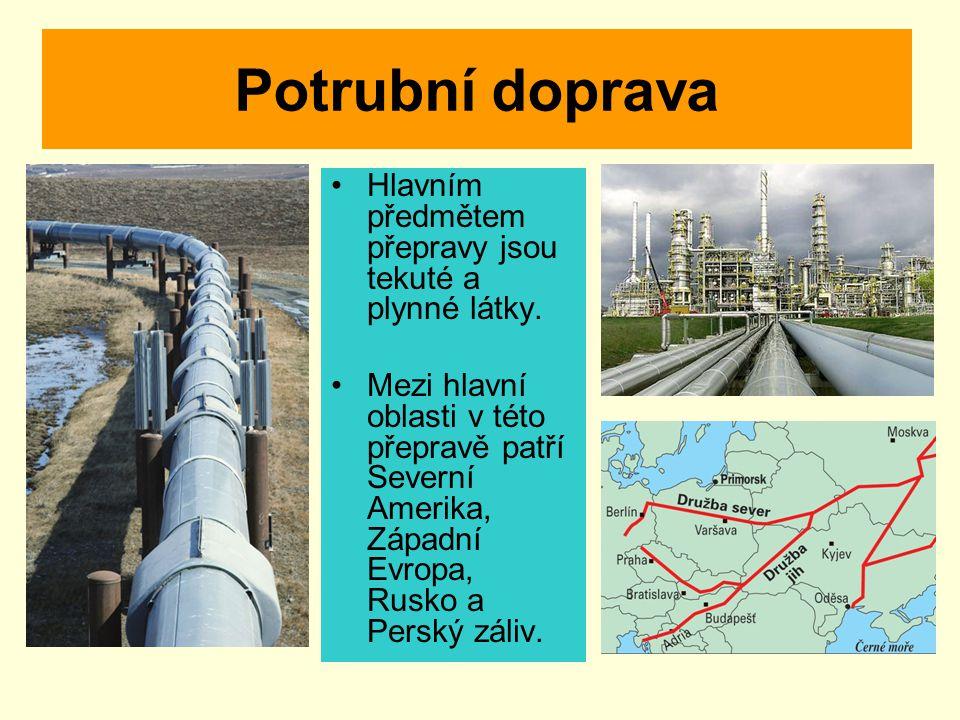 Potrubní doprava Hlavním předmětem přepravy jsou tekuté a plynné látky.