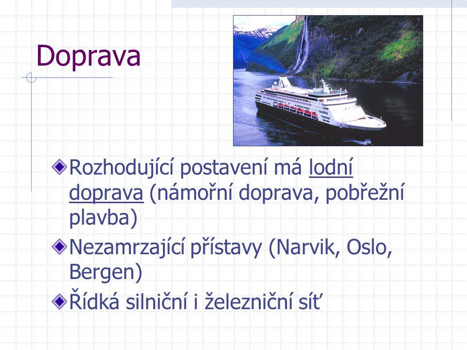Doprava Rozhodující postavení má lodní doprava (námořní doprava, pobřežní plavba) Nezamrzající přístavy (Narvik, Oslo, Bergen)