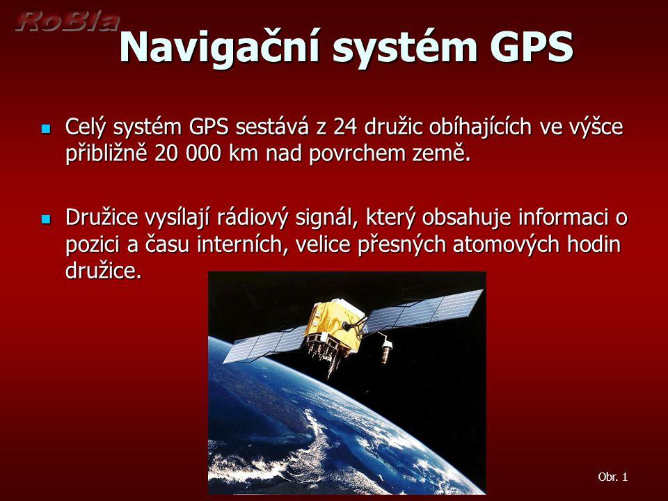 Navigační systém GPS Celý systém GPS sestává z 24 družic obíhajících ve výšce přibližně 20 000 km nad povrchem země.