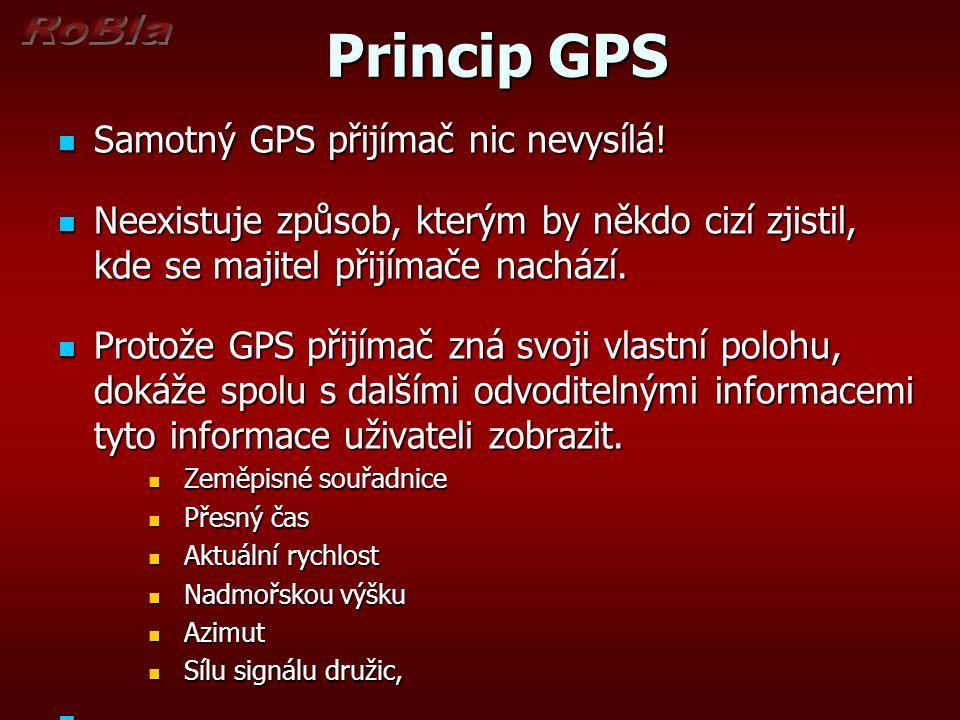 Princip GPS Samotný GPS přijímač nic nevysílá!