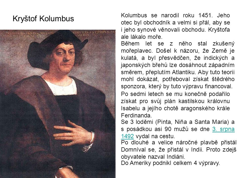 Kolumbus se narodil roku 1451