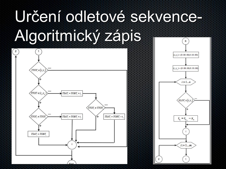 Určení odletové sekvence-Algoritmický zápis