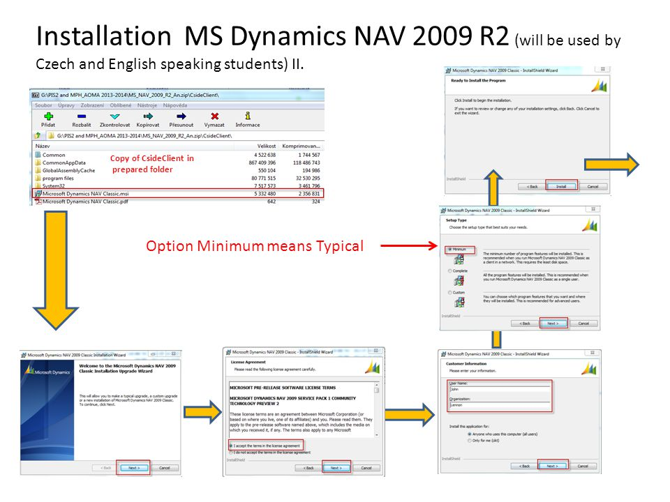 Installation MS Dynamics NAV 2009 R2 (will be used by Czech and English speaking students) II.