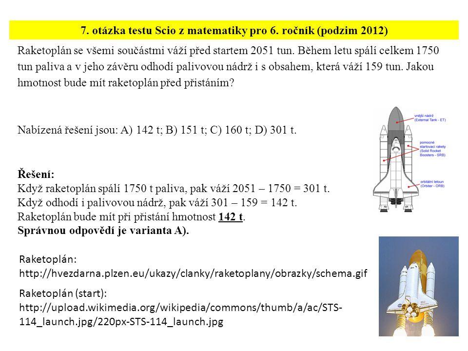 7. otázka testu Scio z matematiky pro 6. ročník (podzim 2012)
