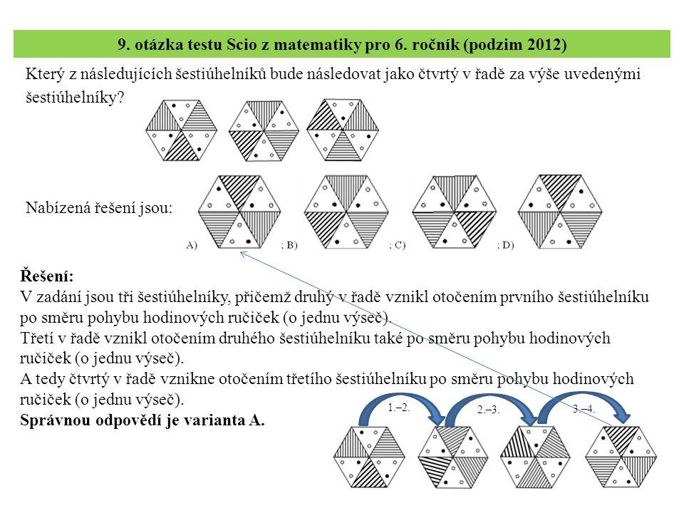 9. otázka testu Scio z matematiky pro 6. ročník (podzim 2012)