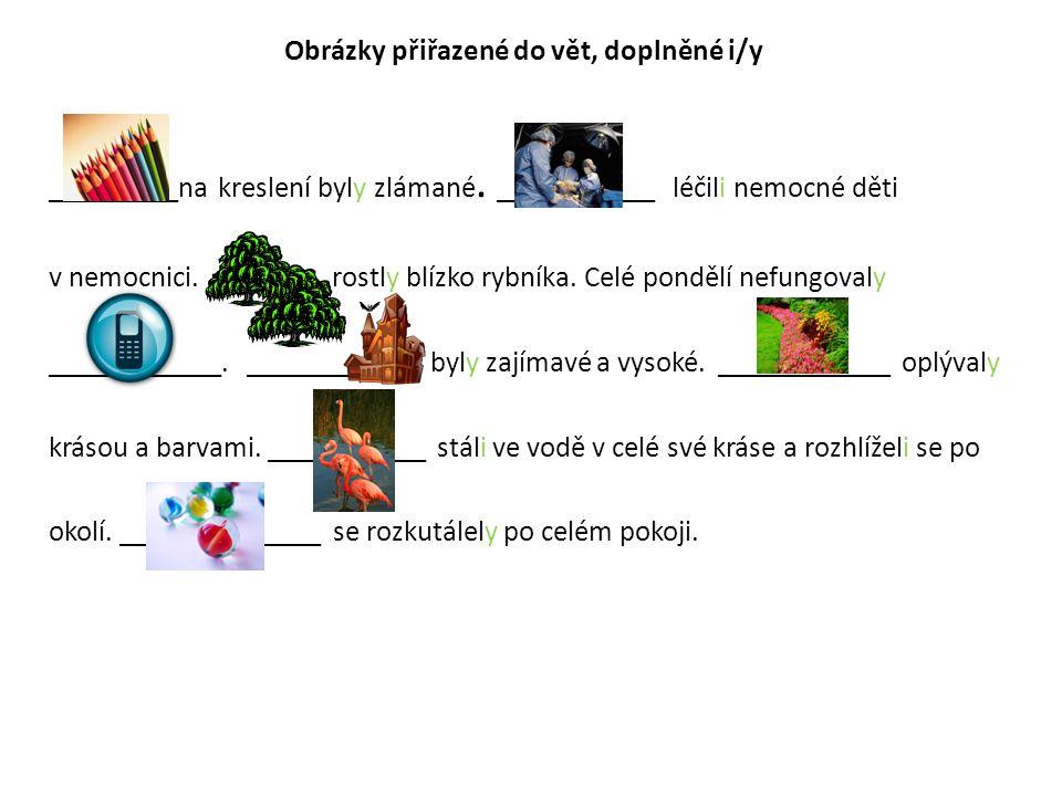 Obrázky přiřazené do vět, doplněné i/y