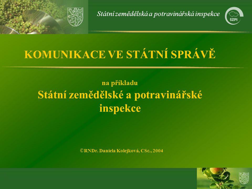 KOMUNIKACE VE STÁTNÍ SPRÁVĚ na příkladu Státní zemědělské a potravinářské inspekce ©RNDr.