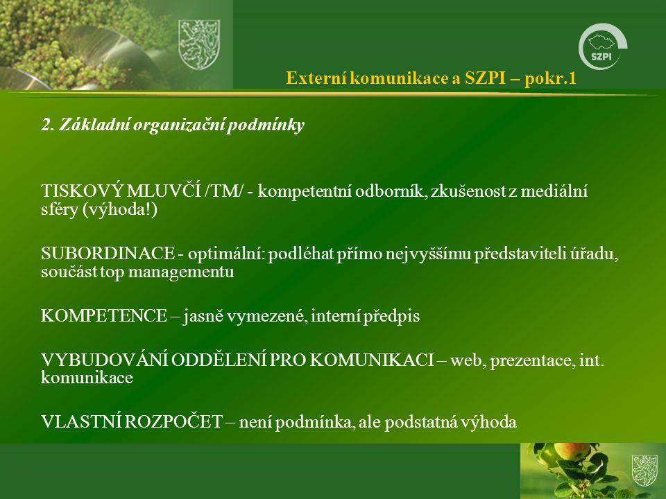 Externí komunikace a SZPI – pokr.1