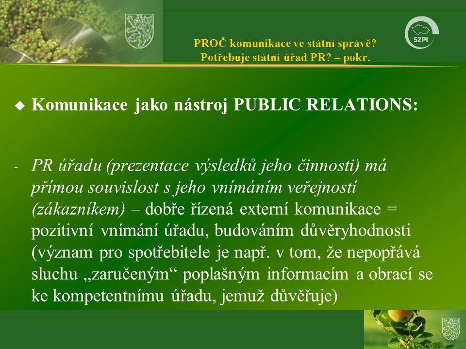 PROČ komunikace ve státní správě Potřebuje státní úřad PR – pokr.