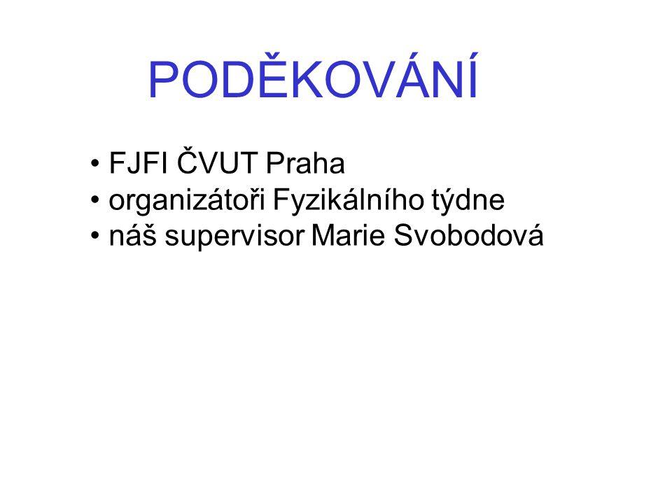 PODĚKOVÁNÍ FJFI ČVUT Praha organizátoři Fyzikálního týdne