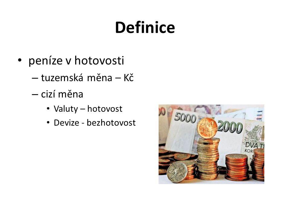 Definice peníze v hotovosti tuzemská měna – Kč cizí měna