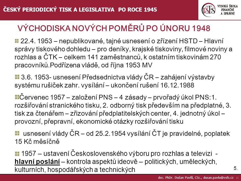 ČESKÝ PERIODICKÝ TISK A LEGISLATIVA PO ROCE 1945