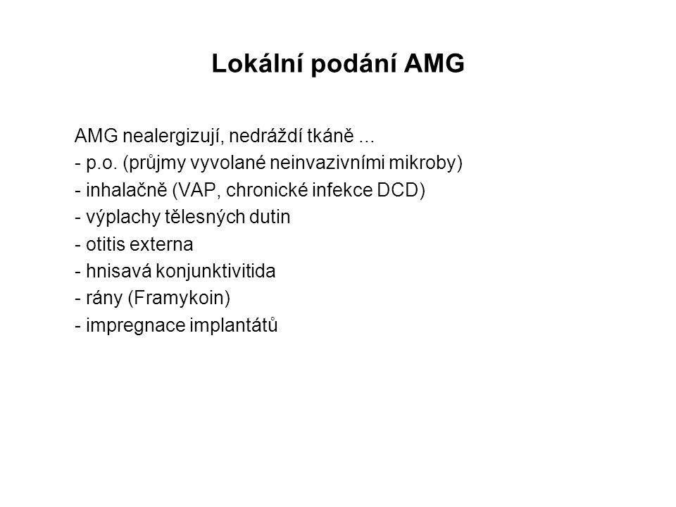 Lokální podání AMG AMG nealergizují, nedráždí tkáně ...