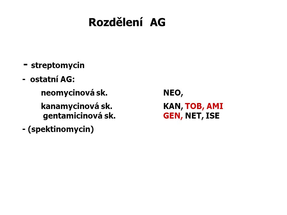 Rozdělení AG - streptomycin - ostatní AG: neomycinová sk. NEO,