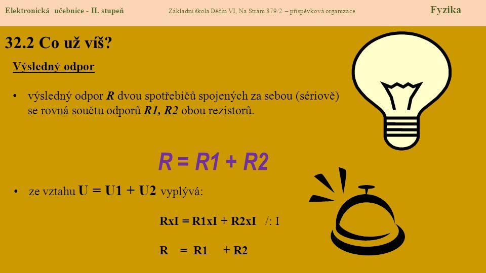R = R1 + R2 32.2 Co už víš Výsledný odpor