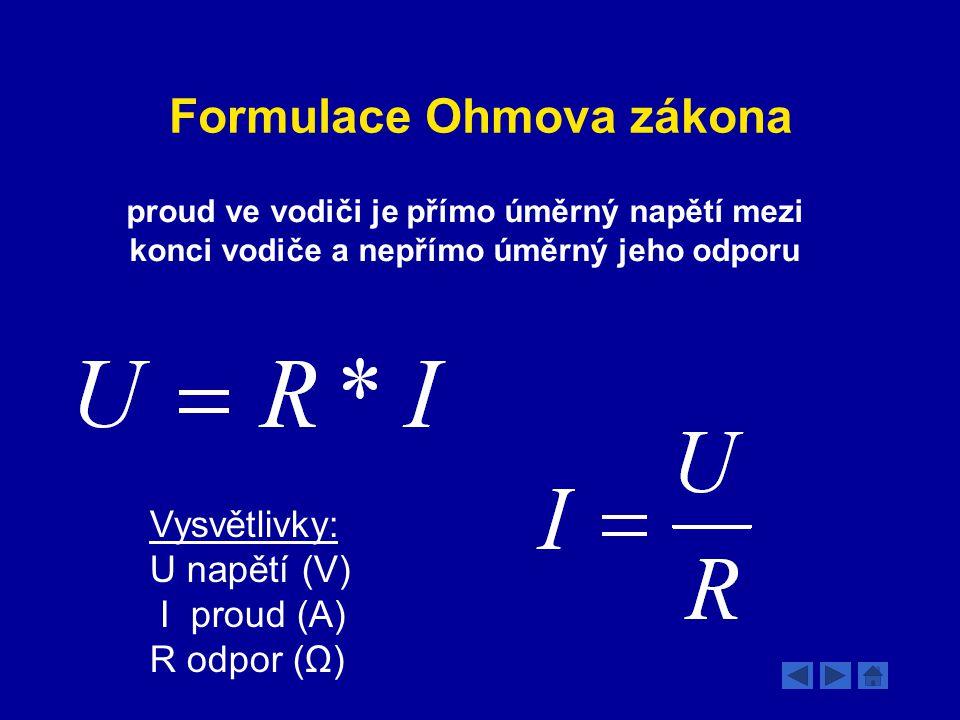 Formulace Ohmova zákona