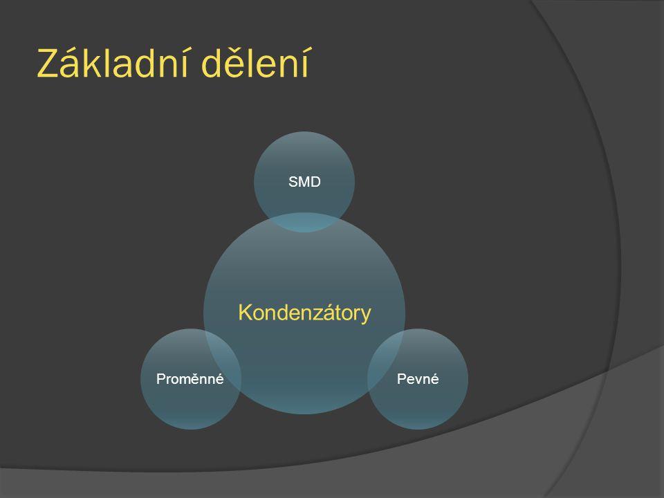 Základní dělení Kondenzátory SMD Pevné Proměnné