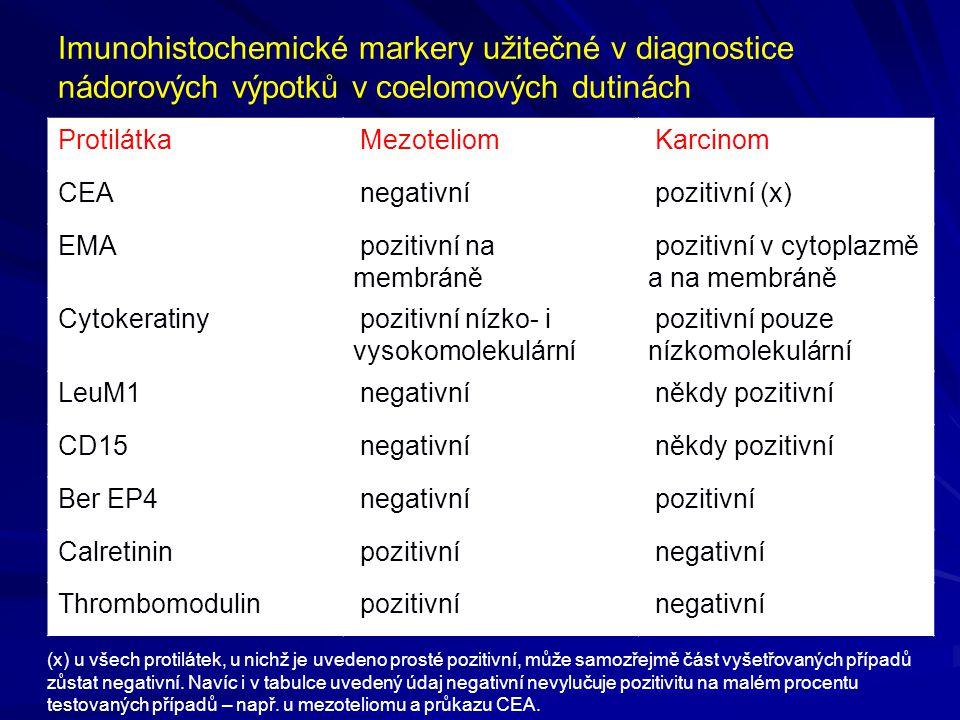 Imunohistochemické markery užitečné v diagnostice nádorových výpotků v coelomových dutinách