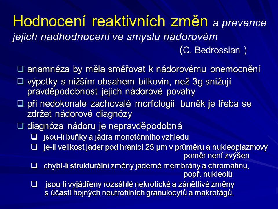 Hodnocení reaktivních změn a prevence jejich nadhodnocení ve smyslu nádorovém (C. Bedrossian )