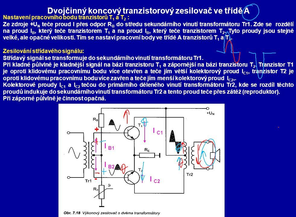 Dvojčinný koncový tranzistorový zesilovač ve třídě A