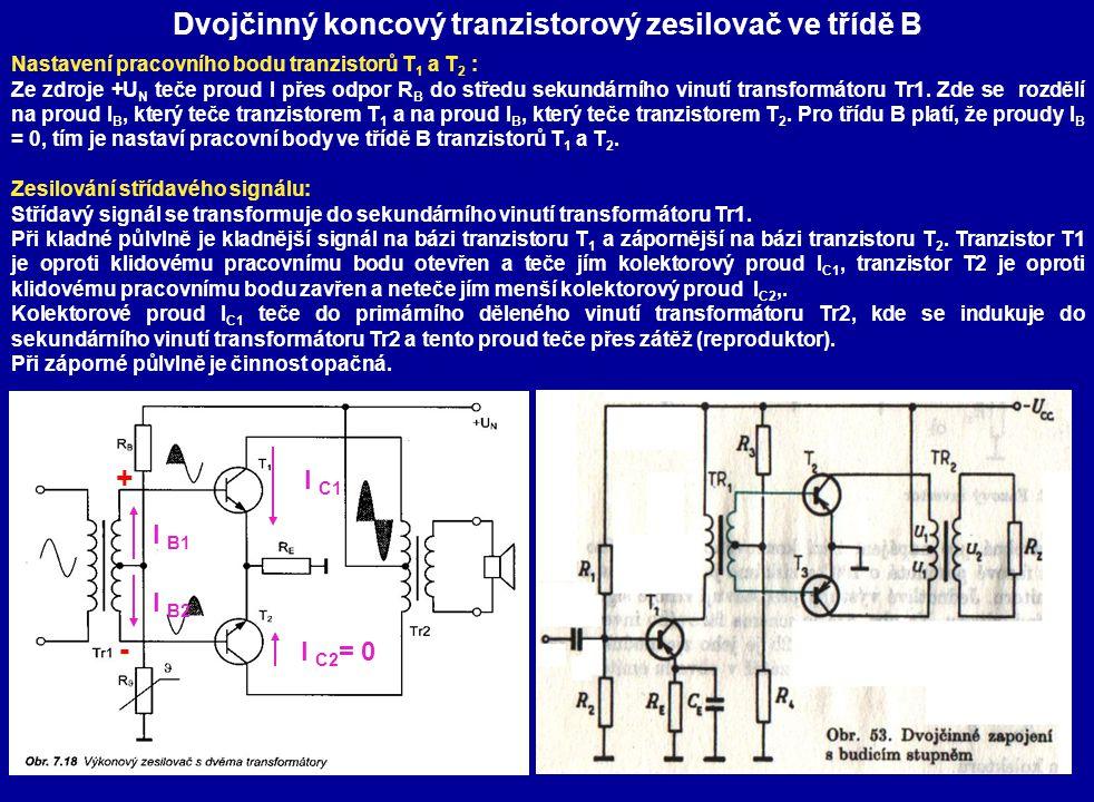 Dvojčinný koncový tranzistorový zesilovač ve třídě B