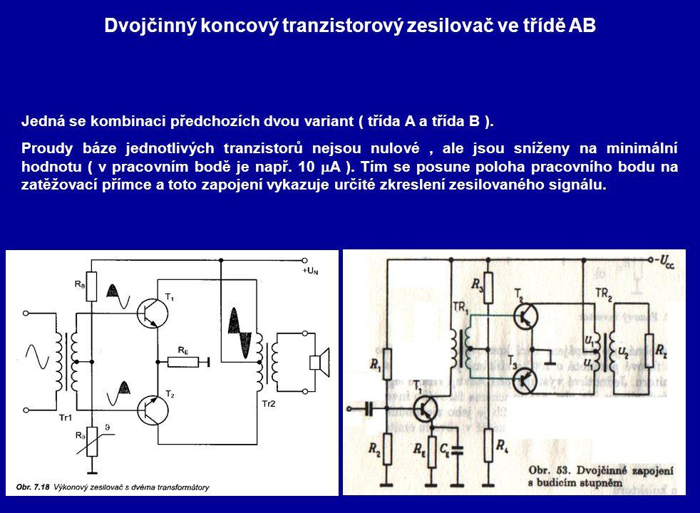 Dvojčinný koncový tranzistorový zesilovač ve třídě AB