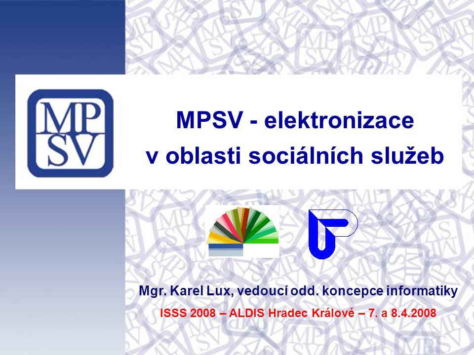 MPSV - elektronizace v oblasti sociálních služeb