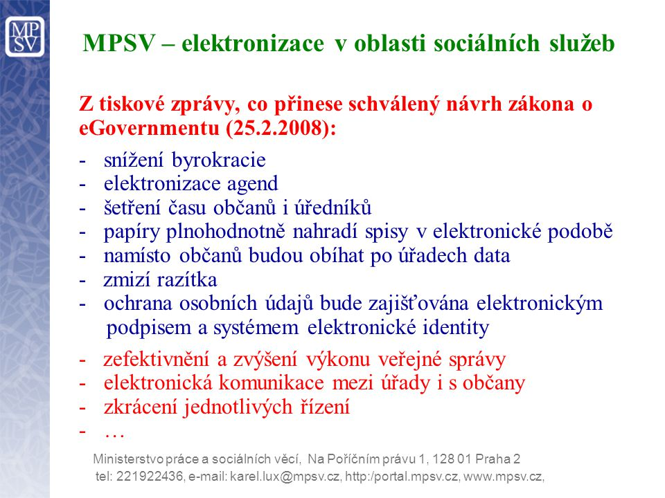 MPSV – elektronizace v oblasti sociálních služeb