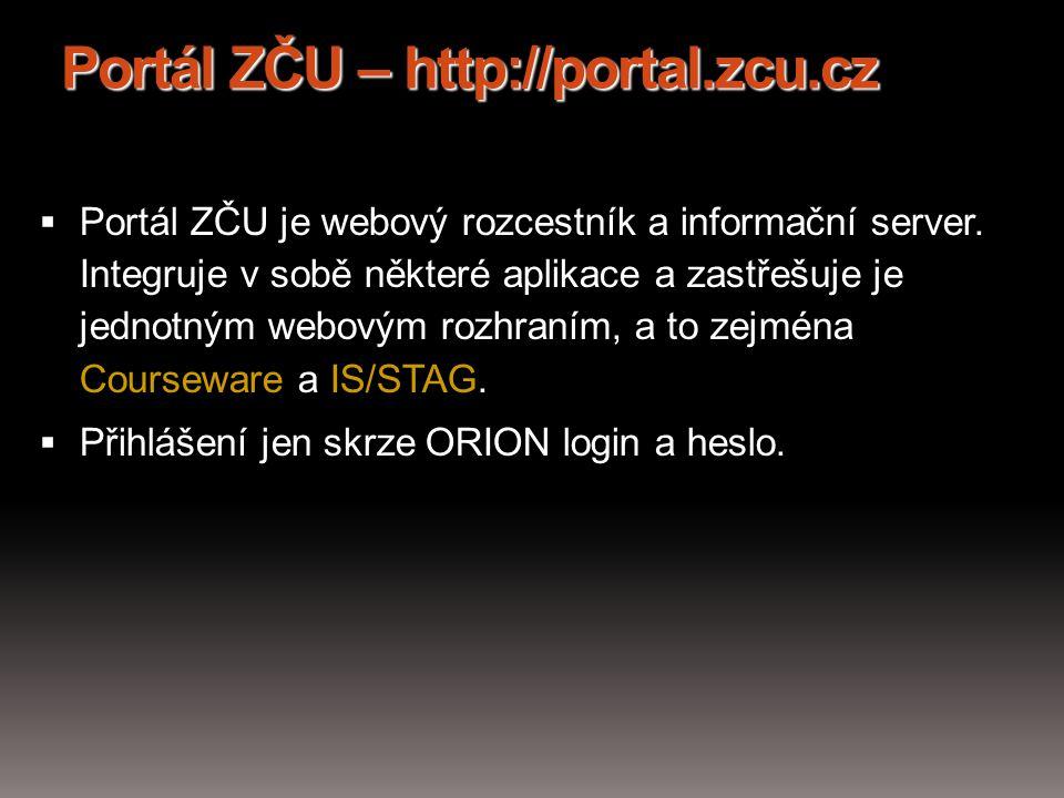 Portál ZČU – http://portal.zcu.cz