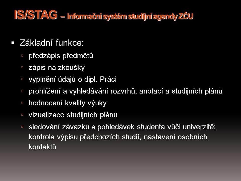 IS/STAG – Informační systém studijní agendy ZČU