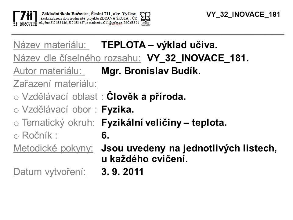 Název materiálu: TEPLOTA – výklad učiva.