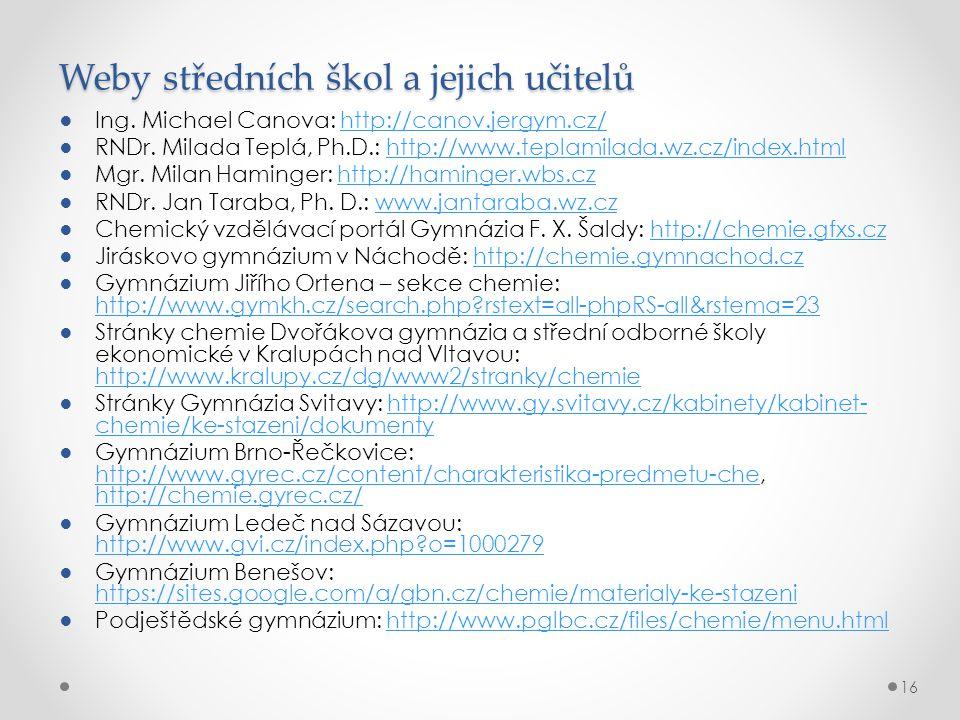 Weby středních škol a jejich učitelů