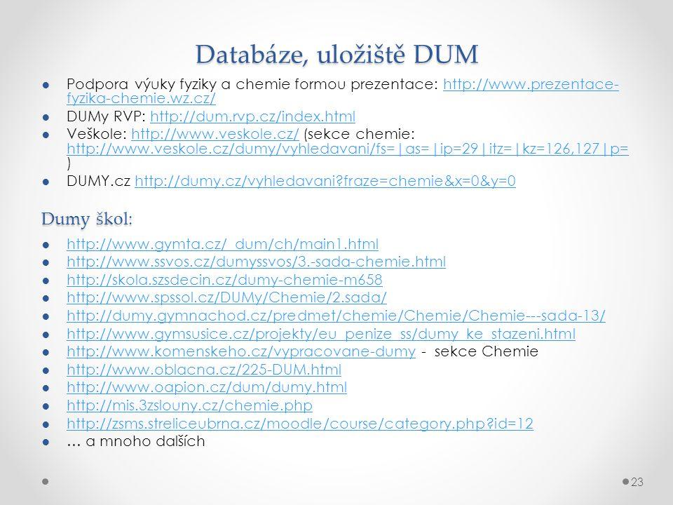 Databáze, uložiště DUM Dumy škol: