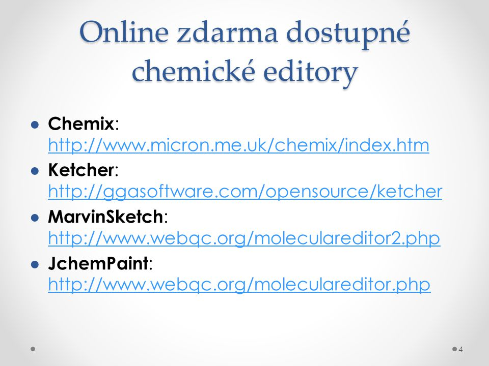 Online zdarma dostupné chemické editory