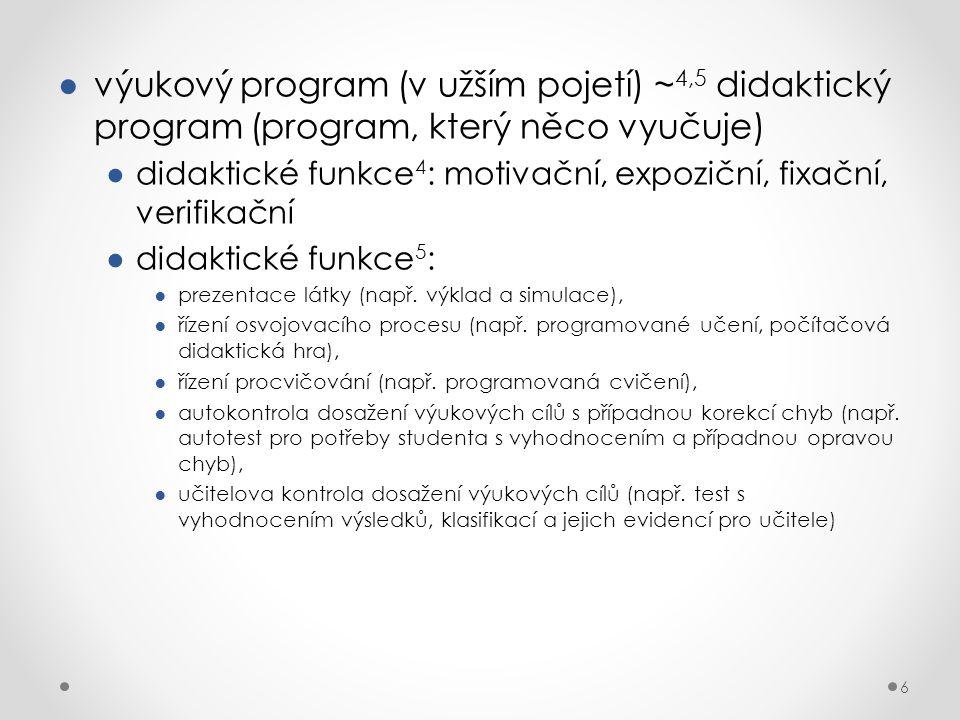 výukový program (v užším pojetí) ~4,5 didaktický program (program, který něco vyučuje)