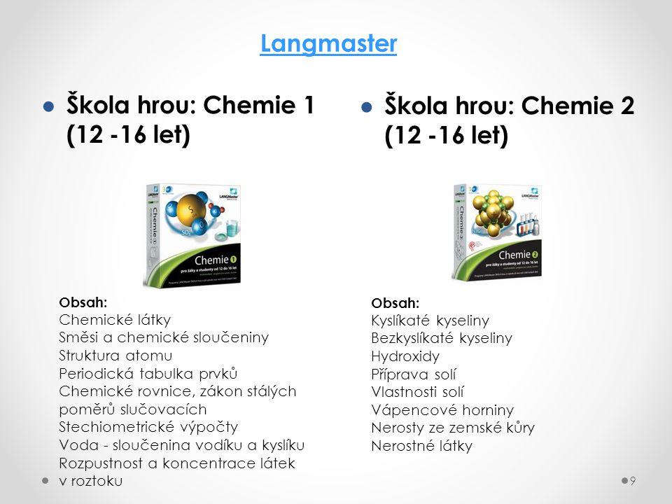 Škola hrou: Chemie 1 (12 -16 let) Škola hrou: Chemie 2 (12 -16 let)
