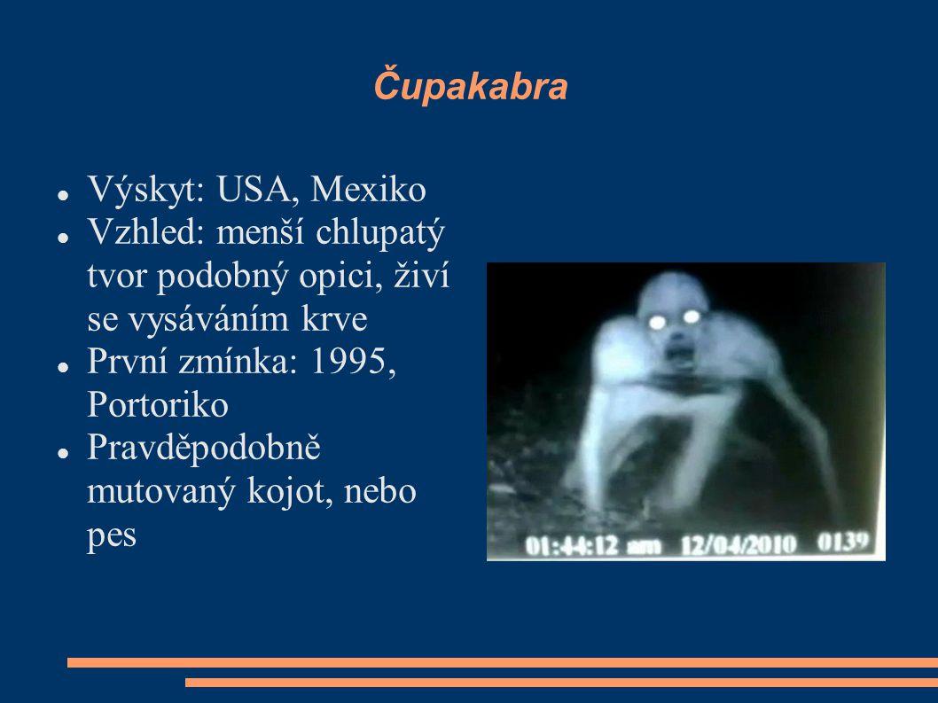 Čupakabra Výskyt: USA, Mexiko. Vzhled: menší chlupatý tvor podobný opici, živí se vysáváním krve. První zmínka: 1995, Portoriko.