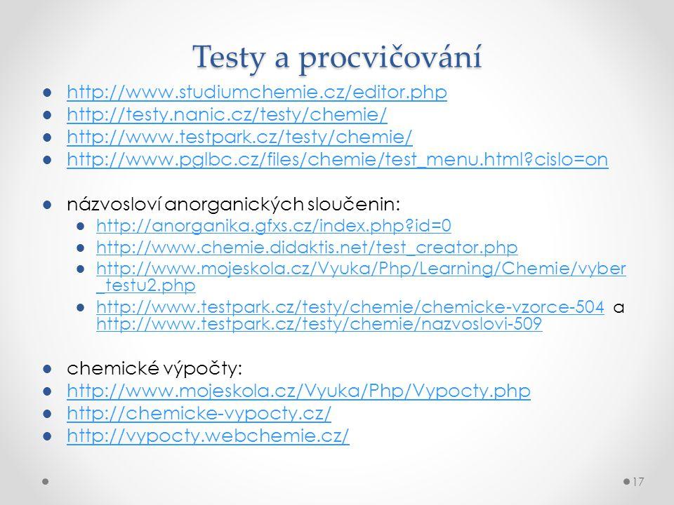 Testy a procvičování http://www.studiumchemie.cz/editor.php