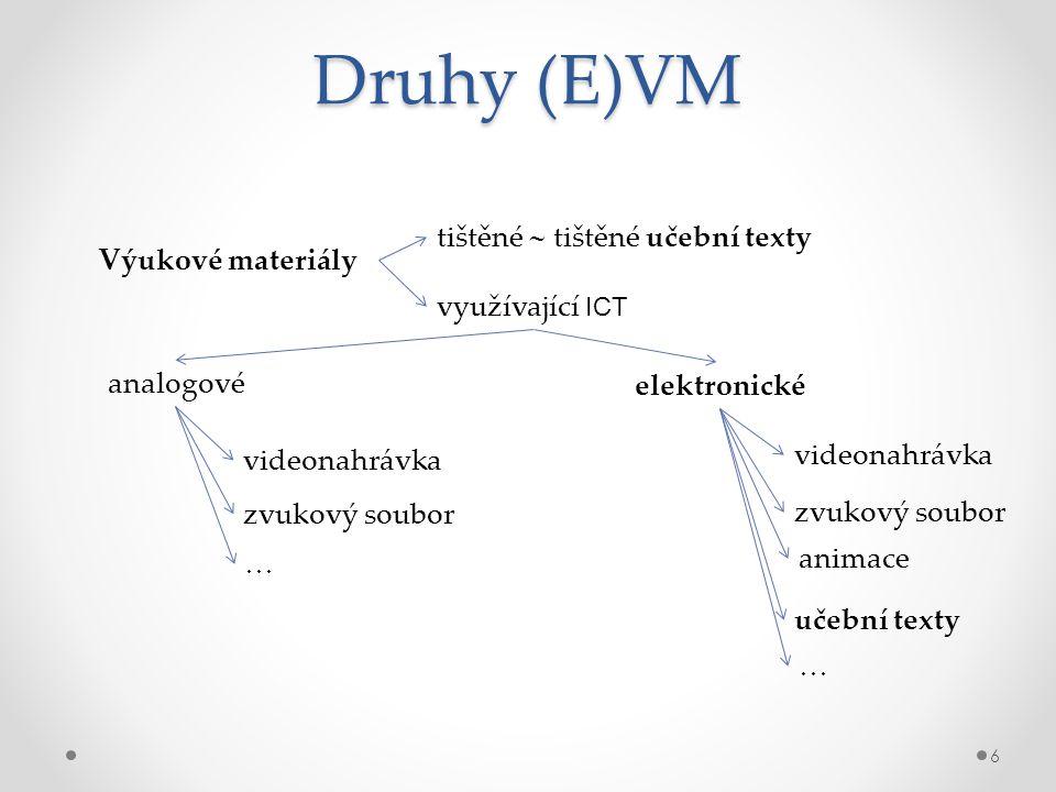 Druhy (E)VM tištěné  tištěné učební texty Výukové materiály