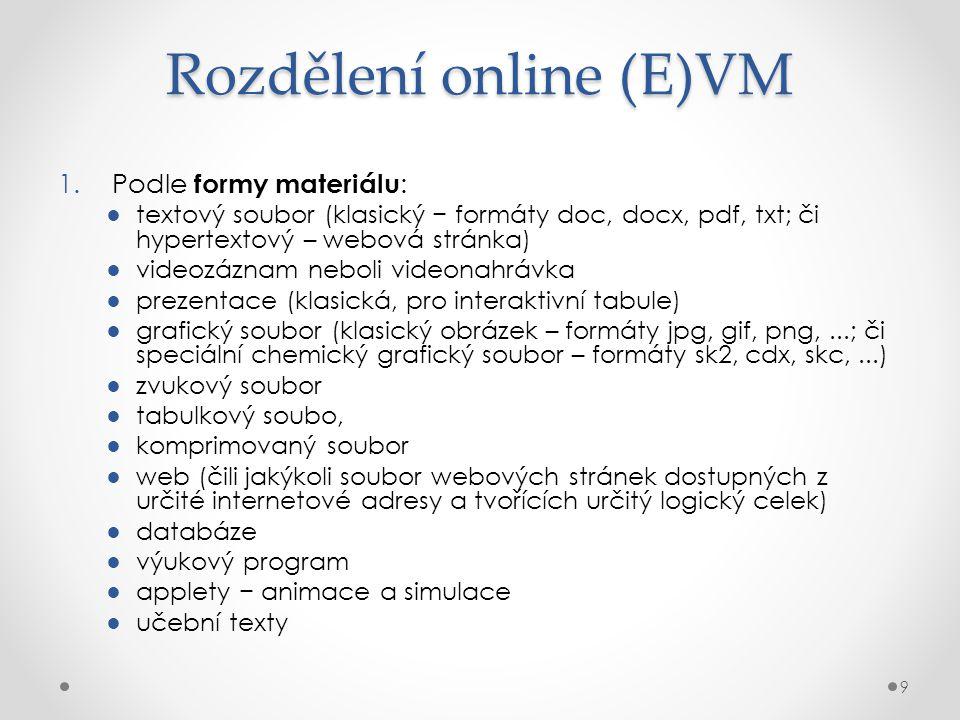 Rozdělení online (E)VM