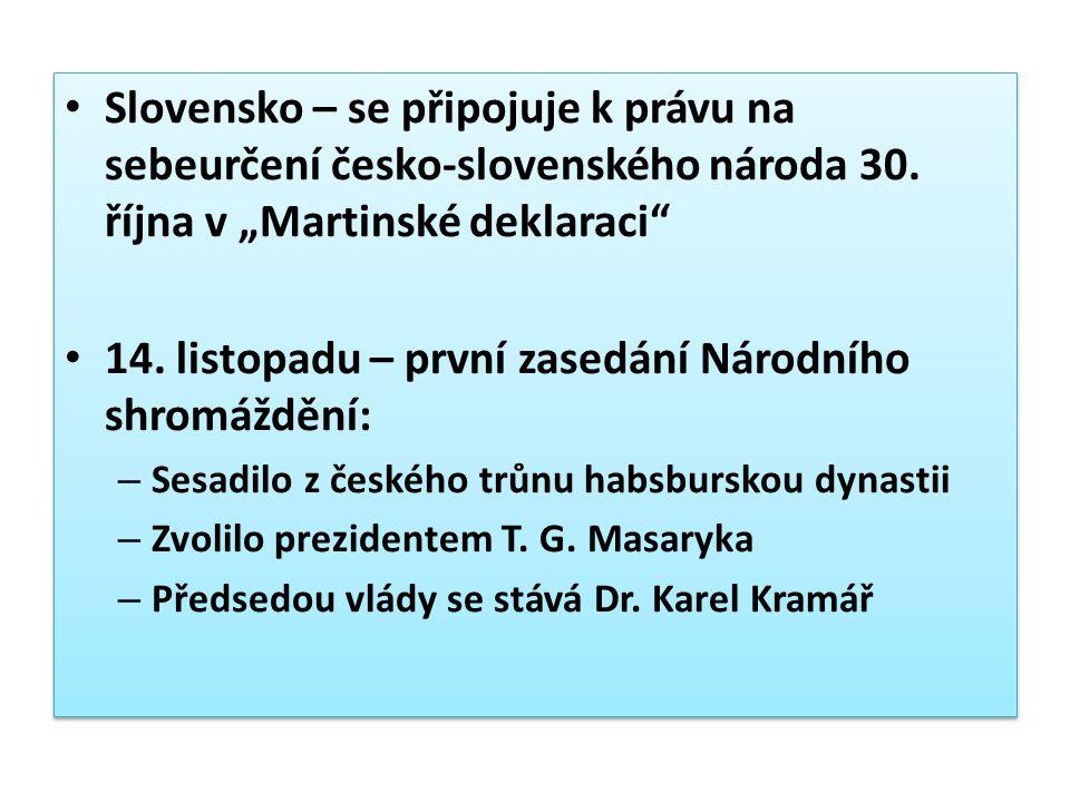 14. listopadu – první zasedání Národního shromáždění: