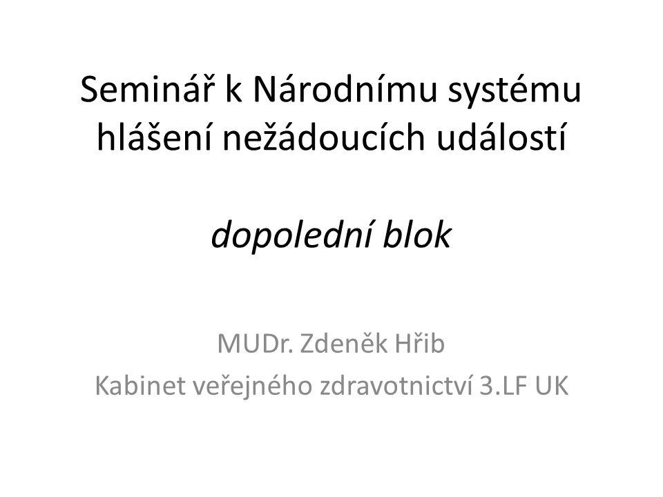 MUDr. Zdeněk Hřib Kabinet veřejného zdravotnictví 3.LF UK