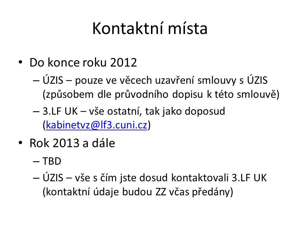 Kontaktní místa Do konce roku 2012 Rok 2013 a dále
